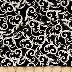 Kanvas Southern Charm Metallic Leaf Scroll Black