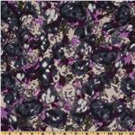 FP-707 Crepe de Chine Floral Navy/Purple/Tan
