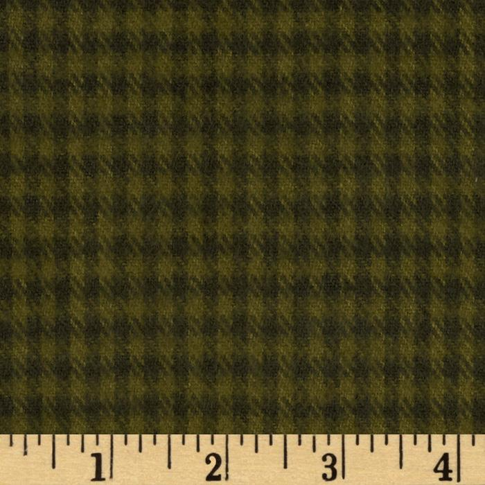 Primo Plaids Flannel Yarn Dyed Houndstooth Small Olive