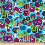 Punch Garden Flannel Geo Mod Shapes Bright Turquoise