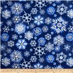 0283560 Timeless Treasures Ice Snowflake Navy