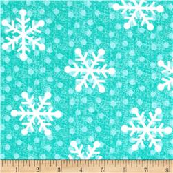 Flannel Tossed Large Snowflakes Teal