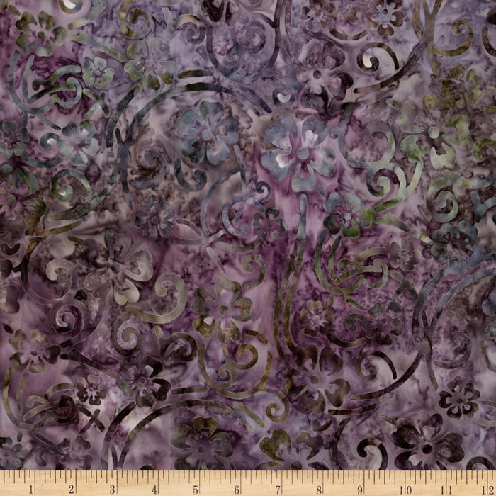 Artisan Batik: Enchanted Floral Scroll Violet