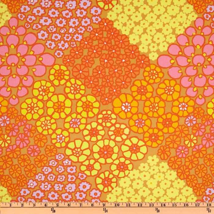 Kaffe Fassett Prints Collection Tile Flowers Gold