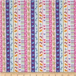 Birds, Butterflies, Hearts, & Flowers Stripe Multi
