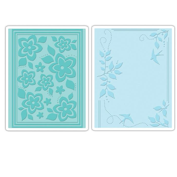 Sizzix Textured Impressions Embossing Folders 2 Pack-Birds, Flowers & Branches