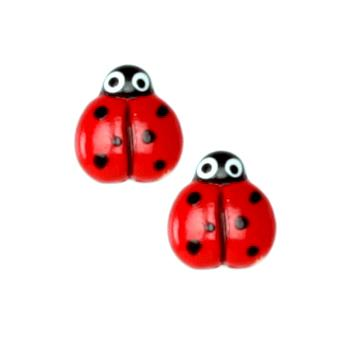 Novelty Button 3/8'' Baby Ladybug Red/Black