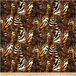 Jungle Safari Broadcloth Animal Maroon/Orange
