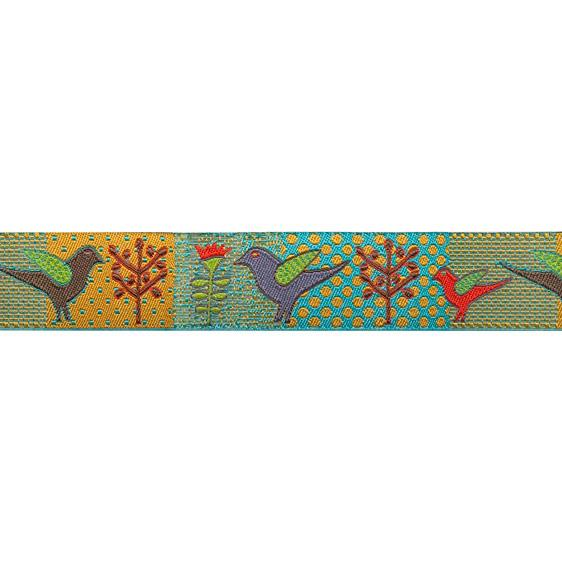 7/8&quot; Sue Spargo Ribbon Birds &amp; Trees Turquoise/Gold