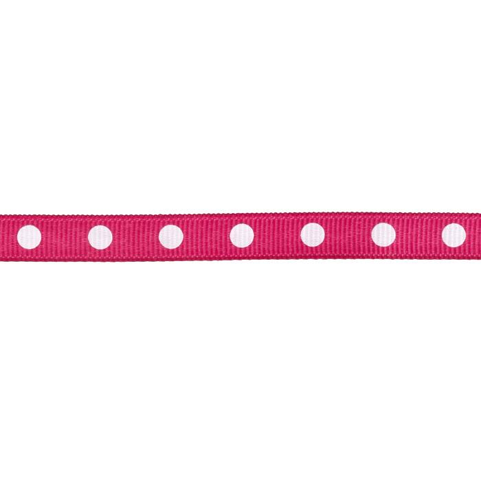 "3/8"" Grosgrain Ribbon Dot White/Fuchsia"