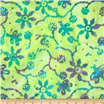 Indian Batik Floral Butterflies Soft Green