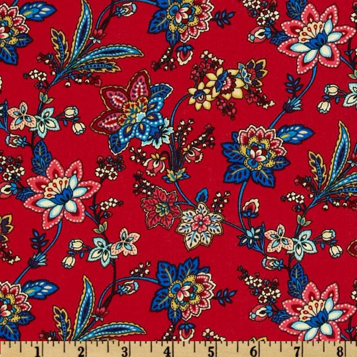A E Nathan Vintage Floral Vines Red