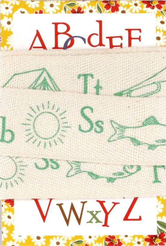 Moda Twill Tape ABC Motif Trim Green 3 yd/pkg
