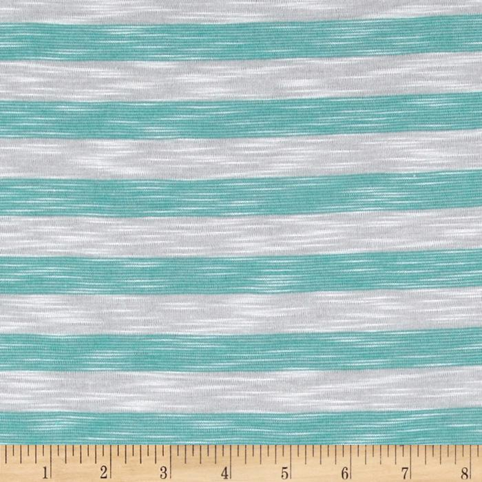 Designer Yarn Dyed Slub Jersey Knit Stripes Turquoise