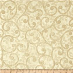 "Left Bank Wide Scroll 104"" Quilt Back Scroll Cream"