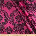 Charmeuse Satin Damask Fuschia/Black