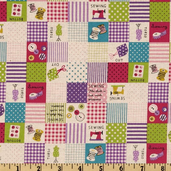Kokka Trefle Cotton/Linen Canvas Sewing Blocks Purple