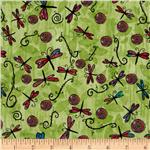 0262540 Flower Power Dragon Fly Green