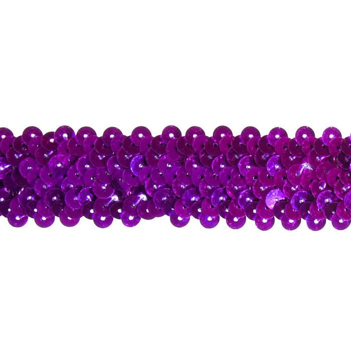 "1 1/4"" Stretch Metallic Sequin Trim Purple"