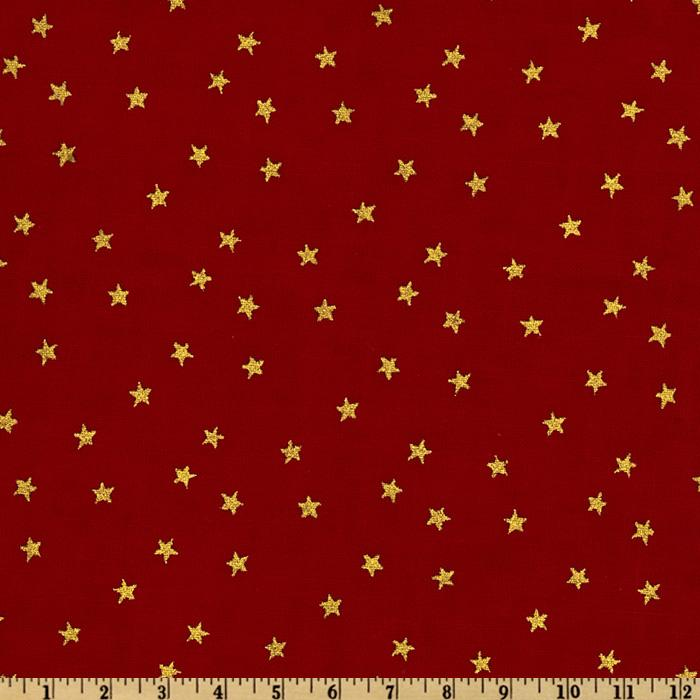 Merry Christmas Stars Metallic Gold/Red