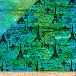 Indian Batik Double Faced Quilted Eiffel Tower Blue/Green