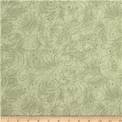"110"" Wide Quilt Backing Scroll Sage"