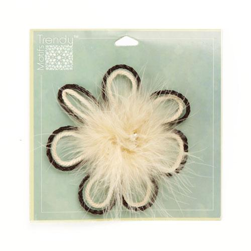 Jeweled Marabou Daisy Brooch 4'' Ivory