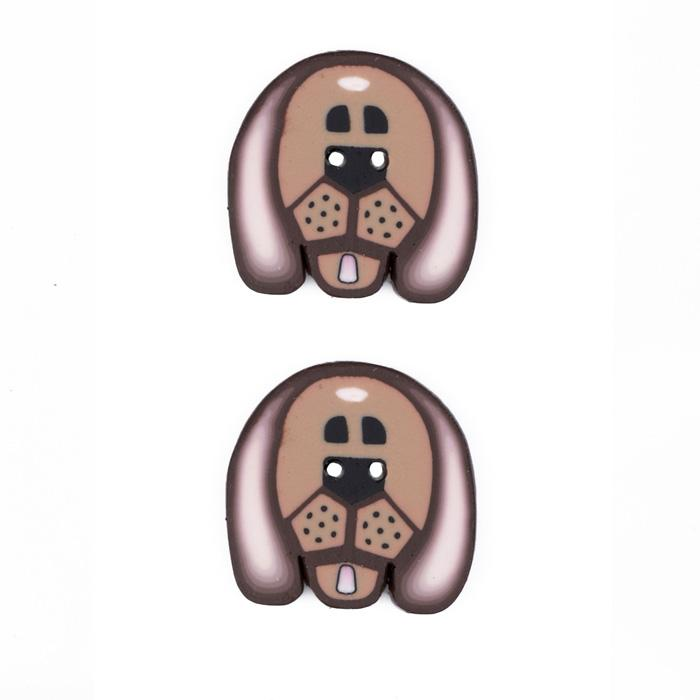 Lisa Pavelka Novelty Clay Button 1'' Dog Face Brown