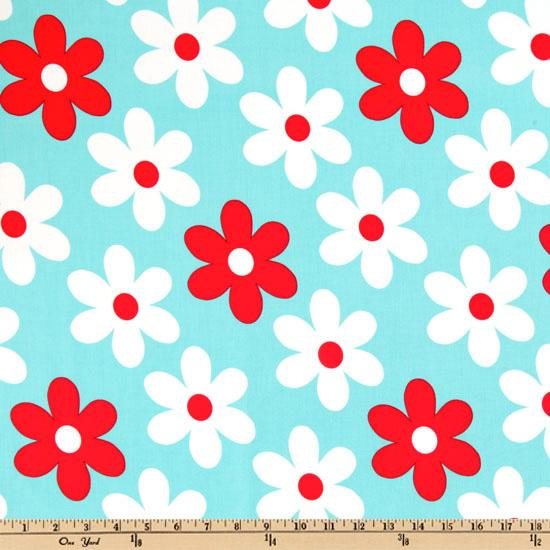 Michael Miller Plain Jane Lil Daisy Turquoise