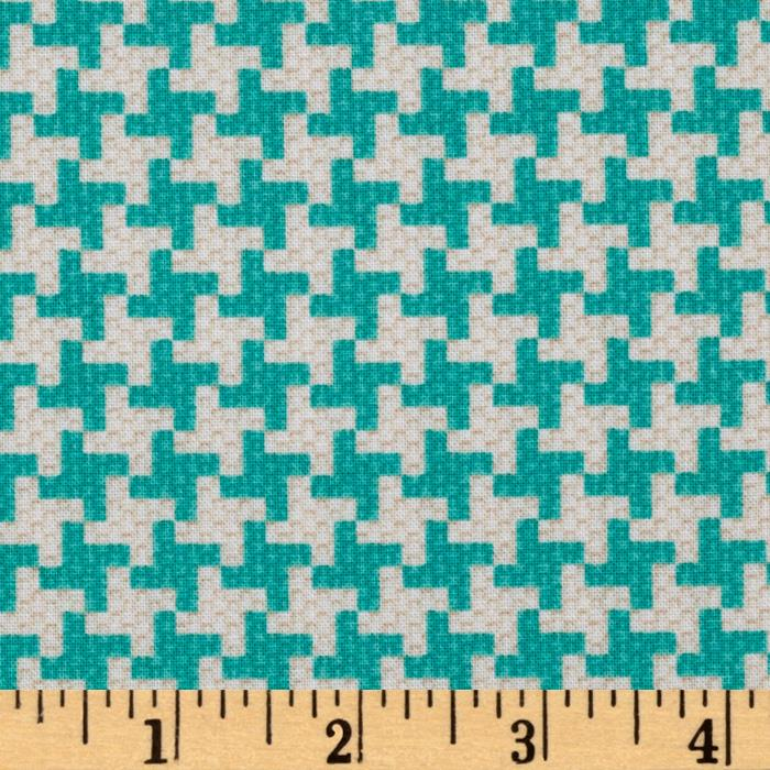 Michael Miller Textured Basics Vintage Houndstooth Teal