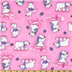Comfy Flannel Polar Bear Pink