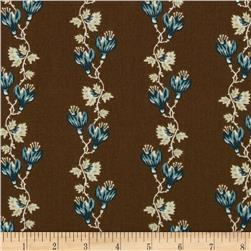 Garden Maze Floral Stripe Brown