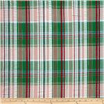 204587 Cotton Pucker Shirting Plaid Green/Shell