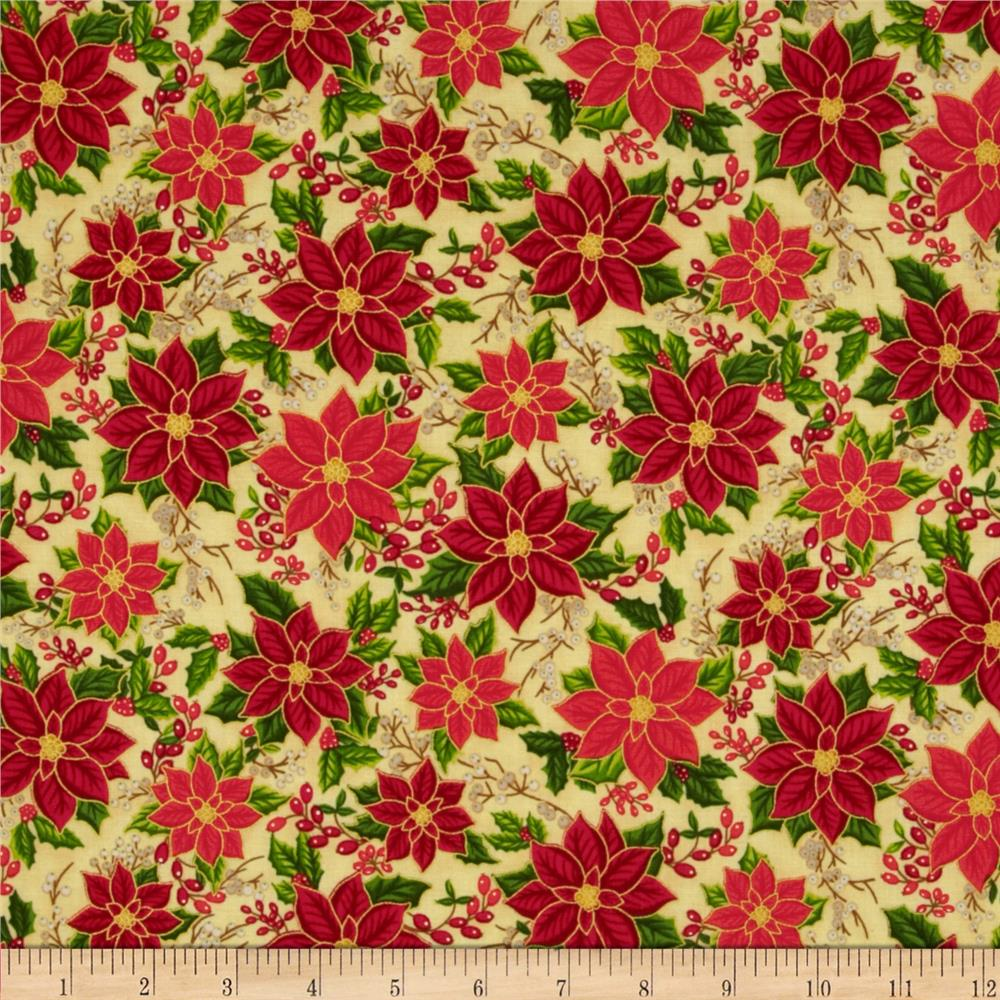 Season's Greetings 2013 Poinsettias Red/Cream