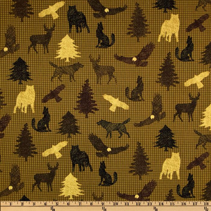 Benartex Northern Exposure Wildlife Olive