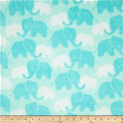 Plush Coral Fleece Elephants Tone on Tone Aqua