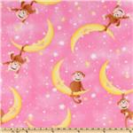 Wonderama Fleece Monkeys on the Moon Pink