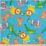0286345 Flannel Jungle Animals