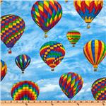Timeless Treasures Hot Air Balloon Large Balloons Sky/Multi