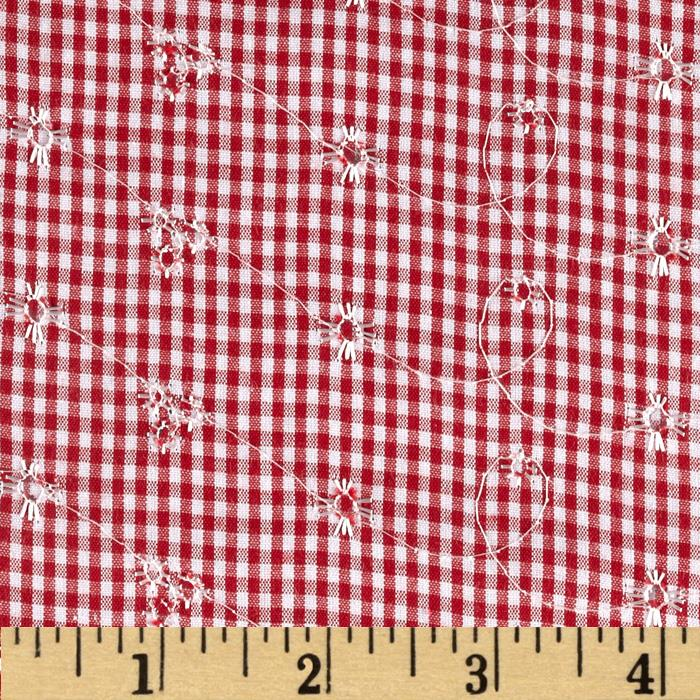 Embroidered Woven Gingham Red