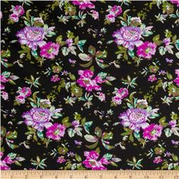 Stretch Designer Knit Floral Lavender/Black