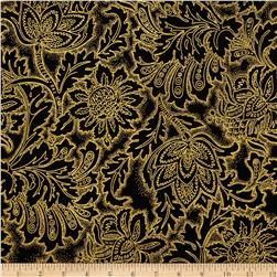 Grandeur 3 Metallics  Flower Tonal Black