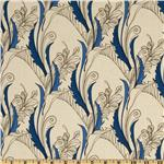 Essex Linen Blend La Femme Deco Vines Natural