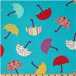 A Happy Rainy Day Umbrellas Turquoise