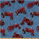 EX-301 Farmall International Harvester Allover Red Tractors Blue