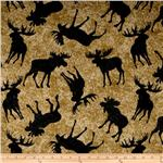 Minky Softie Cabin Elk and Moose Tan