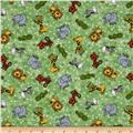 Flannel Tossed Jungle Animals Green