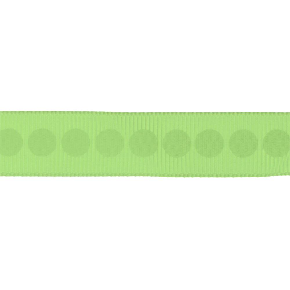 "Riley Blake 5/8"" Grosgrain Ribbon Polka Dot Lime"