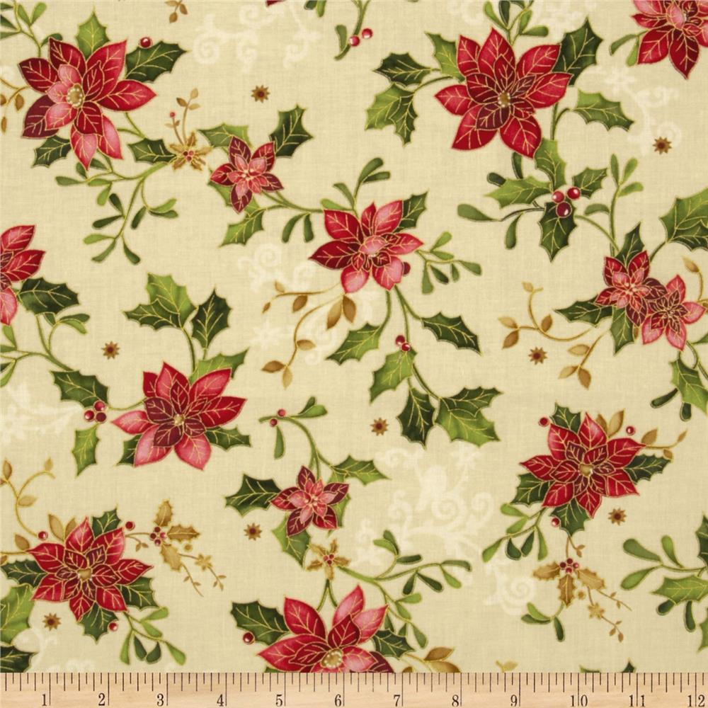 The Giving Quilt Poinsettia Metallic Holly Cream