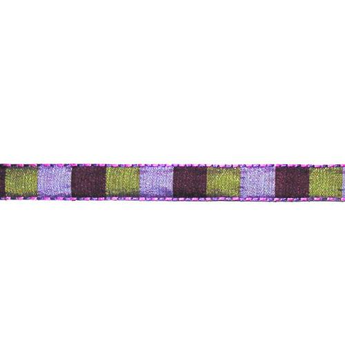 "1/2"" Squares Stitiched Edge Taffeta Ribbon Purple/Lavender"